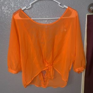 Sheer Orange Blouse